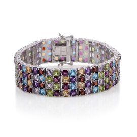 Multi Gem Stone Platinum Overlay Sterling Silver Bracelet (Size 8)  52.750  Ct.