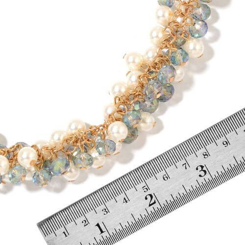 Simulated Mystic Topaz and Simulated Pearl Necklace (Size 20 with 2.5 inch Extender) in Yellow Gold Tone