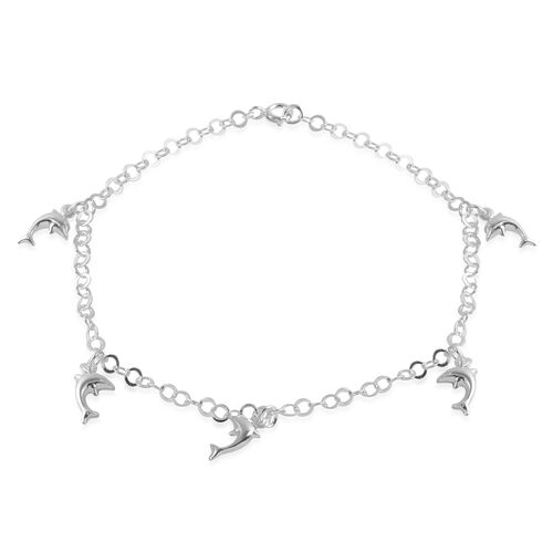 Close Out Deal Sterling Silver Dolphin Charm Anklet (Size 10), Silver wt 3.90 Gms.