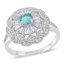 ELANZA AAA Simulated Paraiba Tourmaline (Rnd), Simulated White Diamond Ring in Rhodium Plated Sterling Silver