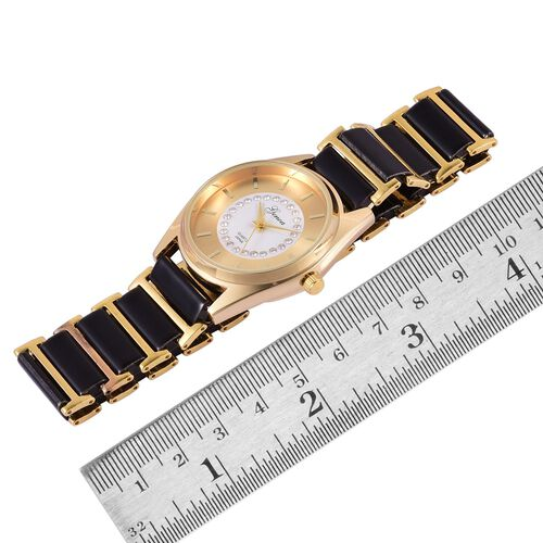 GENOA Japanese Movement White Austrian Crystal Golden Dial Water Resistant Watch in Gold Tone with Stainless Steel Back and Black Ceramic Strap