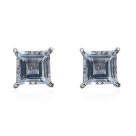 Espirito Santo Aquamarine (Sqr) Stud Earrings (with Push Back) in Platinum Overlay Sterling Silver 2.000 Ct.