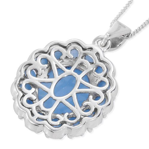 Blue Jade (Ovl 6.00 Ct) Pendant with Chain in Platinum Overlay Sterling Silver 8.500 Ct.