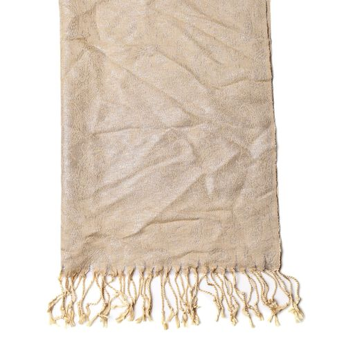 Paisley Pattern Cream Colour Scarf with Fringes (Size 170x70 Cm)
