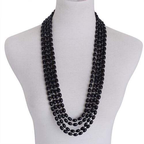 Black Glass Pearl Multi Strand Necklace (Size 30) and Stretchable Bracelet (Size 7.50) in Silver Tone
