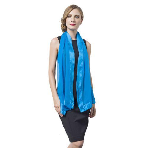 100% Mulberry Silk Scuba Blue Colour Scarf with Satin Border (Size 160X60 Cm)