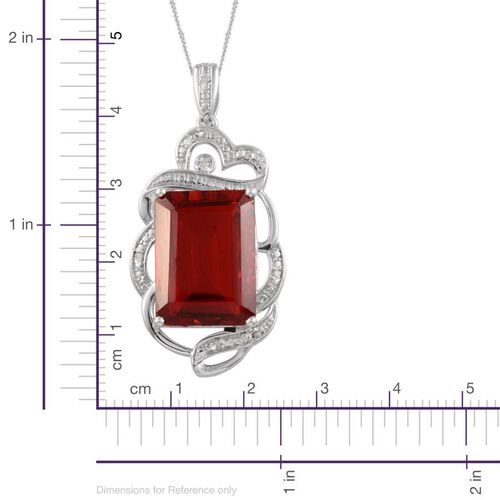 Ruby Quartz (Oct 13.50 Ct), Diamond Pendant With Chain in Platinum Overlay Sterling Silver 13.550 Ct.