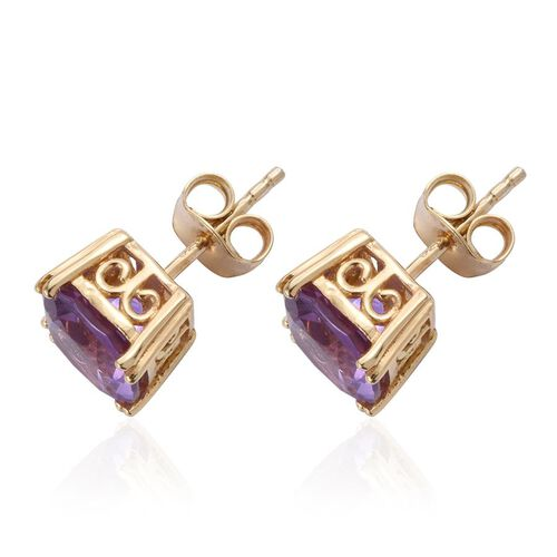 Lavender Alexite (Cush) Stud Earrings (with Push Back) in 14K Gold Overlay Sterling Silver 3.750 Ct.