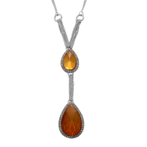 Brown Glass and White Austrian Crystal Necklace (Size 18) in Silver Tone