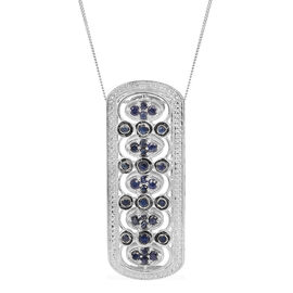 Kanchanaburi Blue Sapphire (Rnd) Pendant With Chain in Platinum Overlay Sterling Silver 2.750 Ct.
