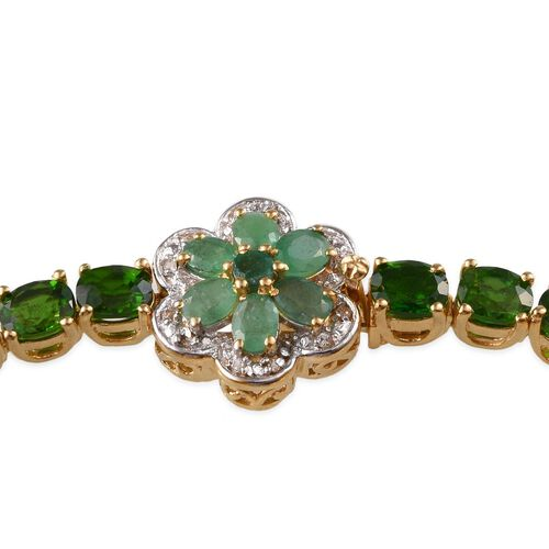 Russian Diopside (Ovl), Kagem Zambian Emerald and White Topaz Floral Bracelet (Size 7) in 14K Gold Overlay Sterling Silver 14.350 Ct.