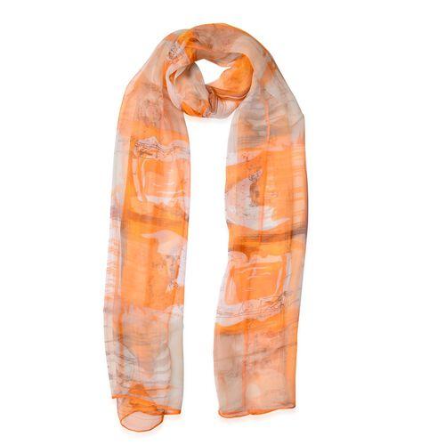100% Mulberry Silk Orange, Brown and Multi Colour Square Pattern Scarf (Size 170x50 Cm)