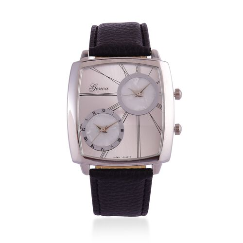 GENOA Japanese Movement Silver Dial Water Resistant Watch in Silver Tone with Stainless Steel Back and Black Colour Strap