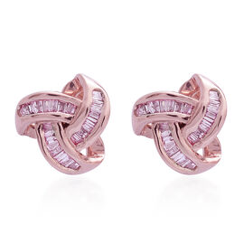 9K Rose Gold Natural Pink Diamond (Bgt) Knot Stud Earrings (with Push Back) 0.250 Ct.