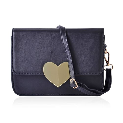 Black Colour Crossbody Bag with Adjustable and Removable Shoulder Strap (Size 22.5x7x16 Cm)