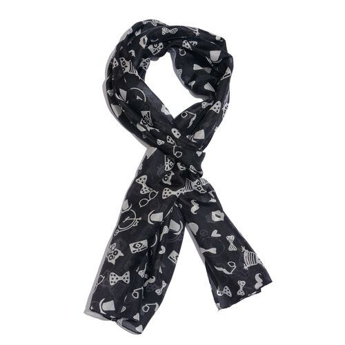 100% Mulberry Silk Black and White Colour Owl, Heart and Bowtie Pattern Scarf (Size 180x50 Cm)