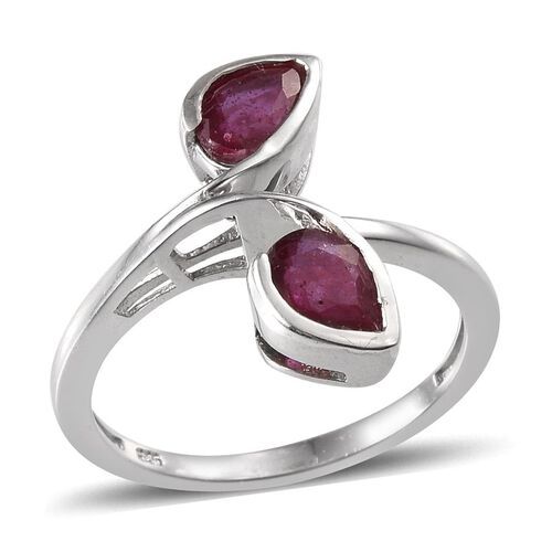 African Ruby (Pear) Crossover Ring in Platinum Overlay Sterling Silver 1.750 Ct.