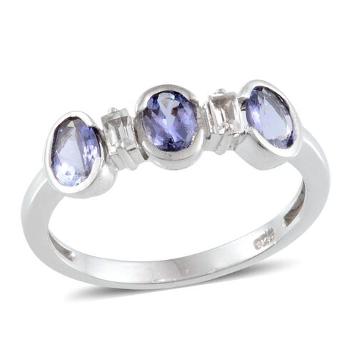 Tanzanite (Ovl), White Topaz Ring in Platinum Overlay Sterling Silver 1.250 Ct.