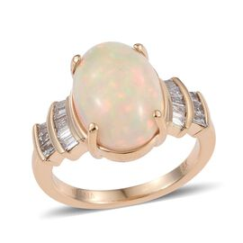 ILIANA 18K Yellow Gold 5.50 Gold Ethiopian Opal Oval, Diamond SI G-H Ring.