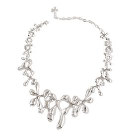 LucyQ Splat Necklace (Size 16 with 3 inch Extender) in Rhodium Plated Sterling Silver 79.15 Gms.