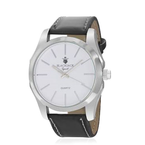 BLACKJACK Japanese Movement White Colour Dial Water Resistant Watch in Silver Tone with Stainless Steel Back and Genuine Leather Strap