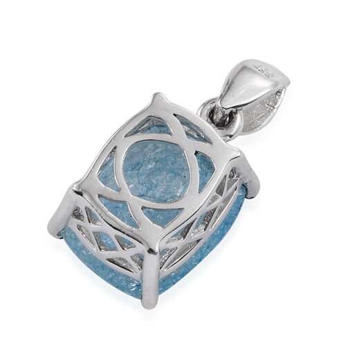 Blue Crackled Quartz (Cush) Solitaire Pendant in Sterling Silver 5.500 Ct.