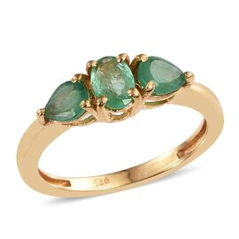 Kagem Zambian Emerald (Ovl) Ring in 14K Gold Overlay Sterling Silver 1.000 Ct.