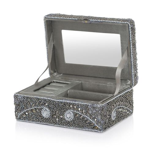 Black Colour Jewellery Box Decorated with Grey, White and Black Beads with a Tray Inside (Size 15x10x6 Cm)