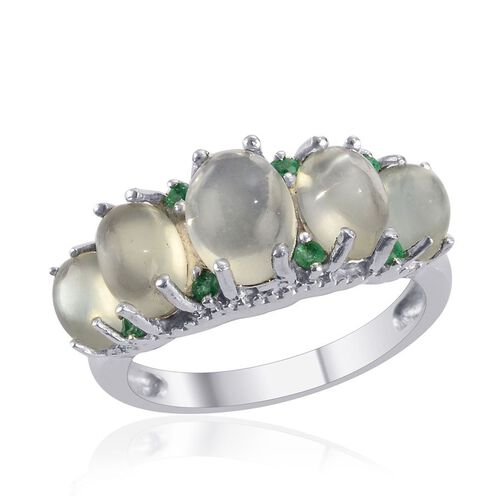 Indian Green Moonstone (Ovl 1.50 Ct), Kagem Zambian Emerald Ring in Platinum Overlay Sterling Silver 4.750 Ct.