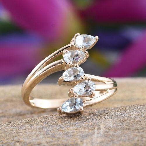9K Y Gold Espirito Santo Aquamarine (Pear) 5 Stone Crossover Ring 1.000 Ct.