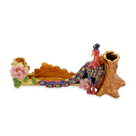 Purple, Red and Multi Colour Enameled Peacock Pen and Card Holder in Gold Tone with Multi Colour Austrian Crystal