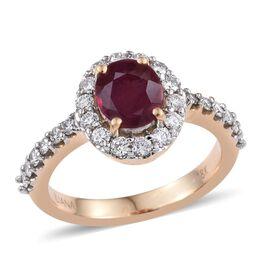 ILIANA 18K Yellow Gold Pigeon Blood Burmese Ruby Engagement Ring 1.90 Carat with Diamond SI G-H.