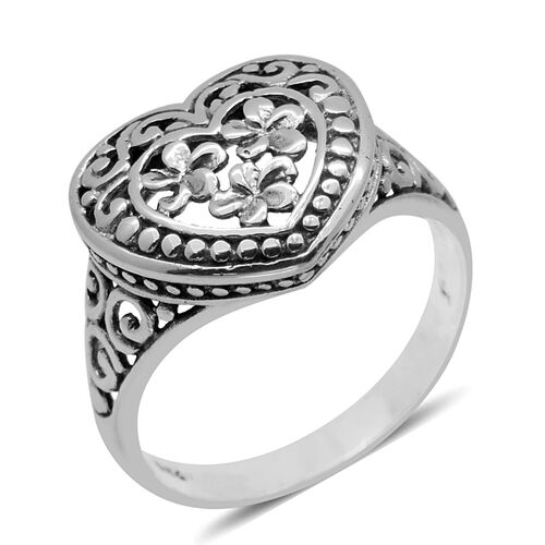 Royal Bali Collection Sterling Silver Floral and Heart Ring, Silver wt 2.48 Gms.