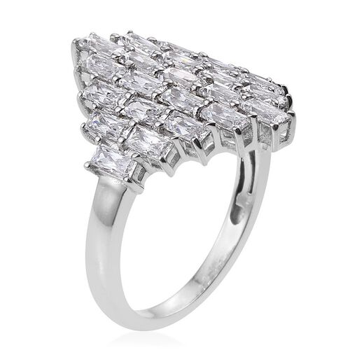 J Francis - Platinum Overlay Sterling Silver (Bgt) Cluster Ring Made with SWAROVSKI ZIRCONIA