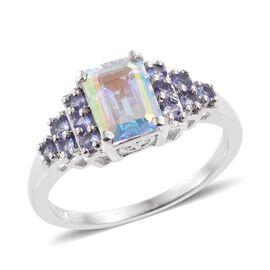 Mercury Mystic Topaz (Oct 1.85 Ct), Tanzanite Ring in Platinum Overlay Sterling Silver 2.250 Ct.