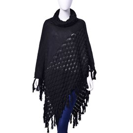 Black Colour Wing Pattern Poncho with Long Collar and Tassels (Size 95x95 Cm)