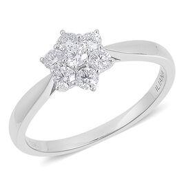 ILIANA 18K White Gold 0.50 Carat IGI Certified Diamond SI G-H 7 Stone Floral Ring