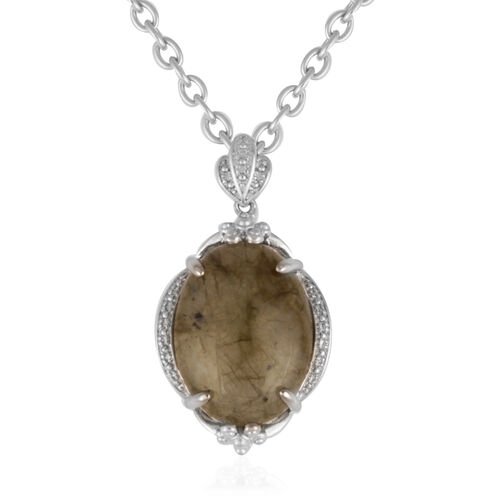 Labradorite (Ovl) Pendant in Silver Bond With Stainless Steel Chain (Size 20) 10.000 Ct.