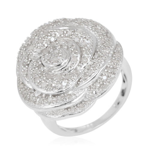 Diamond (Rnd) Floral Ring in Platinum Overlay Sterling Silver 0.500 Ct.