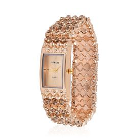 STRADA Japanese Movement AAA Champagne Colour Austrian Crystal Golden Dial Stretchable Bracelet Watch in Gold Tone