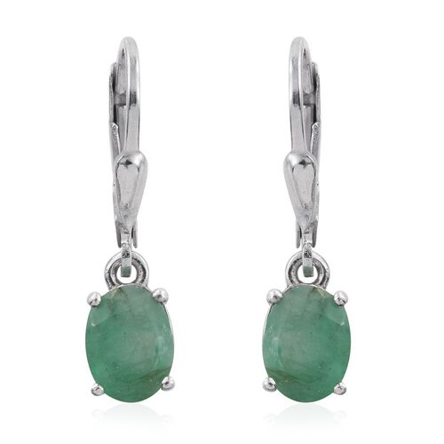 Kagem Zambian Emerald (Ovl) Lever Back Earrings in Platinum Overlay Sterling Silver 2.000 Ct.
