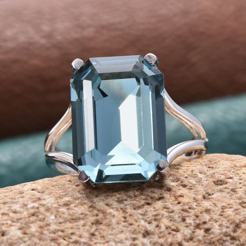 J Francis Crystal from Swarovski - Indian Sapphire Colour Crystal (Oct) Ring in ION Plated Platinum Bond