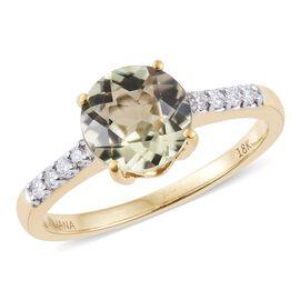 ILIANA 18K Yellow Gold 1.90 Carat AAA Turkizite Ring With Diamond SI G-H
