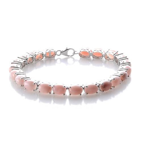 Peruvian Pink Opal Platinum Overlay Sterling Silver Bracelet (Size 7.5) 20.020 Ct.