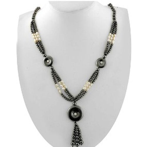 Designer Hematite, Fresh Water White Pearl Necklace (Size 28) 430.000 Ct.
