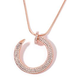 Designer Inspired AAA Austrian Crystal Nail Necklace (Size 30 with 2 inch Extender) in Rose Gold Tone