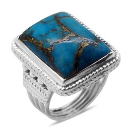 Royal Bali Collection Mojave Blue Turquoise (Oct) Solitaire Ring in Sterling Silver 11.440 Ct.