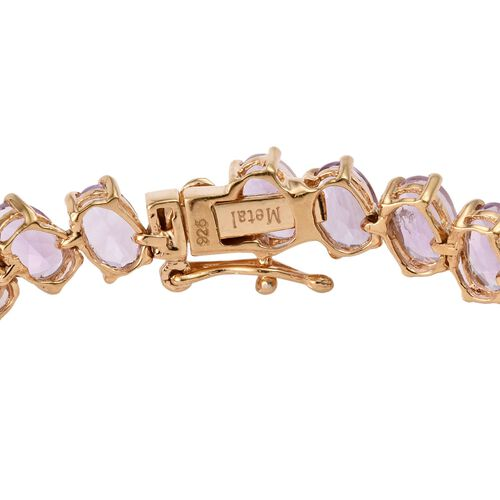 Rose De France Amethyst (Ovl) Bracelet (Size 7.5) in 14K Gold Overlay Sterling Silver 15.000 Ct.
