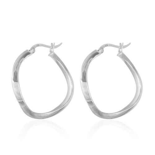 Thai Sterling Silver Hoop Earrings, Silver wt 4.88 Gms.