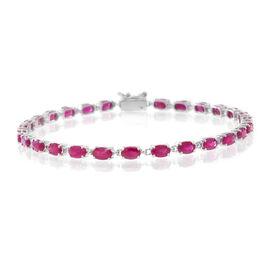 9K White Gold 9.25 Ct AAA Burmese Ruby Tennis Bracelet (Size 7.5)